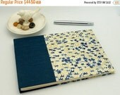 MOVING SALE Classic Guest Book, 6.5 x 9.5, Unlined, Blue and Gold Lily Pads
