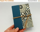 MOVING SALE Refillable Pocket Journal, Notebook, Sketchbook, Stenciled Mums with Suede Cord and Interior Pocket