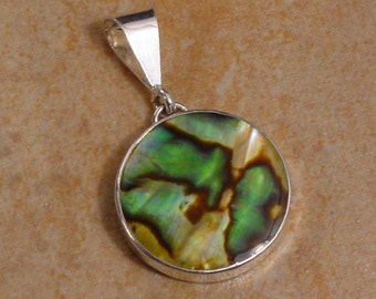 Golden Abalone Shell and Sterling Silver Round Pendant