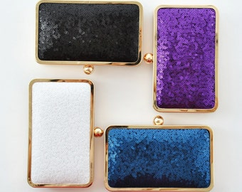 SEQUIN - PETITE box clutch - Bridal/Bridesmaids/Flower girl/Prom/Cocktail- Black-White-Navy-Purple
