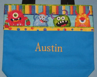 Monster Mischief personalized preschool tote bag for boys canvas kids daycare library book bag little boy birthday Ring Bearer gift idea