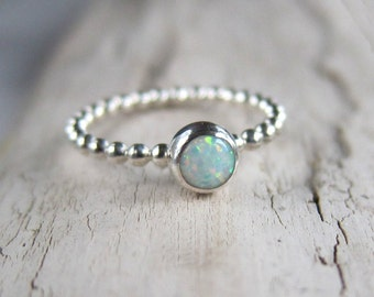 White Opal ring. Gemstone ring band. Sterling silver ring with white opal. Sale!!!