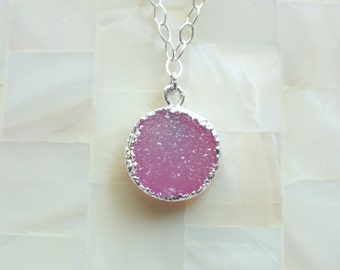 Silver Edge Sparkling Pink Druzy Drusy Round Pendant on Sterling Silver Chain Necklace (N1744)