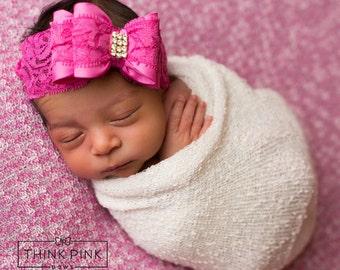 Newborn Headband, Pink baby headband, baby headband, Valentines headband, Big bow headband, baby girl headband, lace headband,Baby hair bows