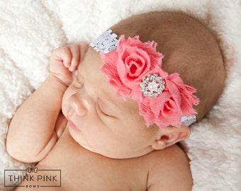 Newborn baby headband, Baby headbands, Coral baby headband, CHOOSE COLOR baby headbands, Baby hair bows,baby girl headband, Baptism headband