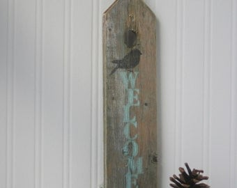 Rustic WELCOME Wood Sign, painted weathered wood, Small, One of a kind, Aqua blue, brown bird,
