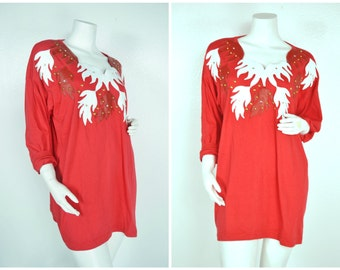 90s 80s flame faux leather abstract decal studded red white long sleeve batwing dress shirt tunic