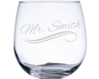 Personalized Stemless Red Wine Glass-17 oz.-7789 Name with Swirl Lines