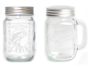 Mason Jar  Mug - 15 oz. small  2710 Welcome to the Cabin - Fish