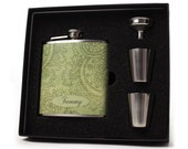 Flask // Personalized Gift Flask // Green Paisley