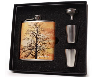Personalized Sunset Tree 6 oz Liquor Flask Gift Set