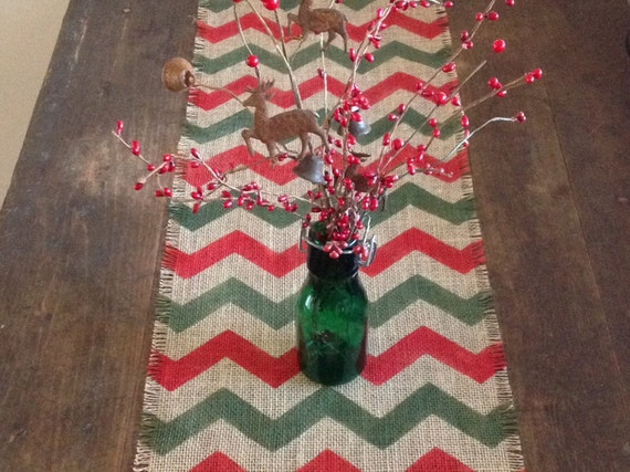 Burlap christmas chevron 12x84 to 120 table runner red and for 120 table runner christmas