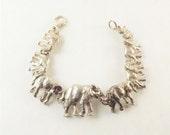 Sterling Silver Elephant Bracelet, 14K White Gold Elephants Linked in a Line Chain Bracelet, Fine Silver Jewelry