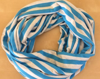 Jersey knit infinity scarf - bright blue and oatmeal stripe