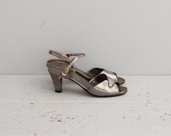 Vintage Silver Heels . Wedding Party Shoes . 50s 1950s Womens Shoes