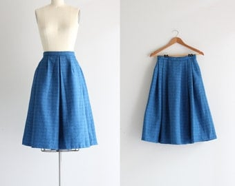Vintage 50s Circle Skirt . 1950s Full Skirt . Retro Cupcake Skirt . Blue Wool Skirt
