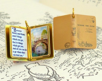 Winnie the Pooh by A.A. Milne - Miniature Book Charm Quote Pendant - for charm bracelet or necklace. Custom available!