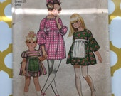 RARE 1971 Simplicity Sewing Pattern 9790 Toddler Girls Square Neck Jumper Dress with Apron Size 6 apron is cut- Girls Pattern, dress w/apron