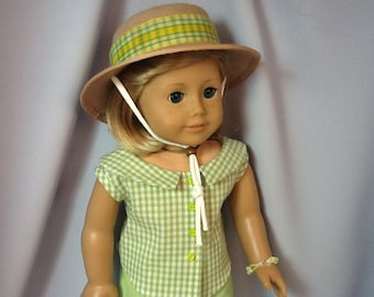 18 Inch Doll Clothes, Lime Green and White Pants and Shirt Outfit including Hat for dolls like American Girl