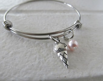 Ice Cream Charm Bracelet- Adjustable Bangle Bracelet with Ice Cream Cone Charm, and accent bead in your choice of colors