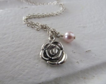 Rose Necklace -Rose Charm with an accent bead in your choice of colors