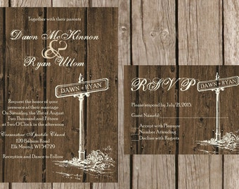 Rustic Wedding Invitation, Rustic Barn Wedding Invitation, Wood Wedding Invitaiton, Country Wedding Invitation,Custom