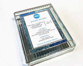 Stained Glass Bat Mitzvah Invitation Keepsake Box Custom Made