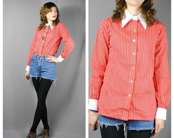 ON SALE 50% Ladies Vintage Red and White PINSTRIPE Shirt with Pointed Collar. (Medium)