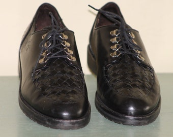 "Cole Haan Black Leather Basket Weave Loafer Size 8 1/2""B"
