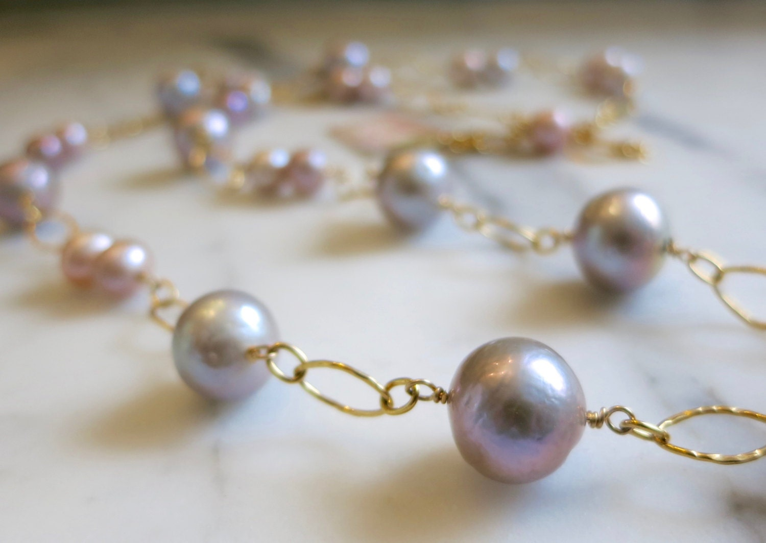 Pink Pearl Necklace, Authentic Pearl Necklace, Wedding Necklace, Gold  Necklace, Beach Jewelry, Large Pearl Necklace, Long Necklace