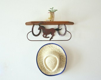 Vintage Horse Shoes  Shelf, Horse, Wood Shelf with Towel Rod, Wall Decor, Cowboy