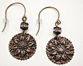 Boho Earrings - Sunflower Earrings - Flower Earrings - Brass Earrings - Hippie Earrings - Sunflower Jewelry - Bohemian Earrings - Disc