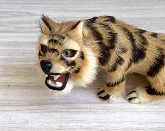 vintage collectible real fur tiger cat figurine / sculpture / toy
