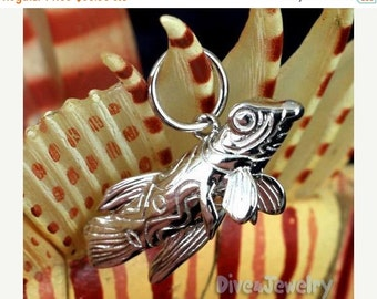 SALE Mandarin Goby Fish Sterling Silver Pendant Necklace