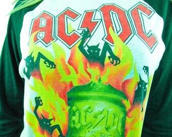 Vintage ACDC Shirt 1988 World Tour 3/4 Sleeve Baseball Tee Concert shirt Band tee ACDC Tee Slayer Iron Maiden Metallica Boho Rocker 50/50 M