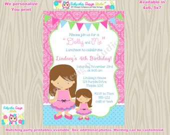 Dolly and Me birthday invitation invite dolly and me tea party birthday DIY printable custom colors