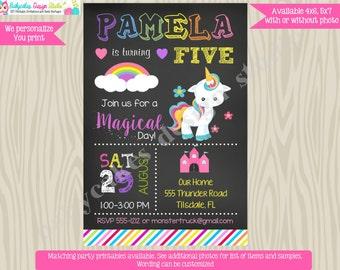 Rainbow Unicorn Birthday Invitation, Invite, rainbow unicorn invitation, little pony, printable, chalkboard, magical, digital file, DIY