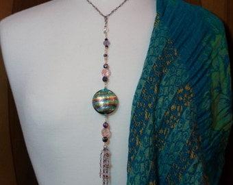Kelly's Rainbow Turquoise Lamp work Glass Venetian-Murano  Moonstone Tassel ~ Two Tone Silver/Gold