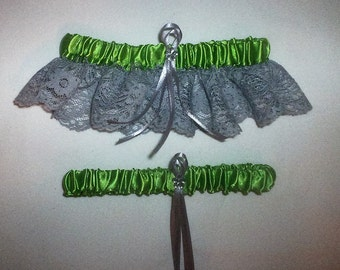 Apple Green Satin / Silver Lace - 2 Piece Wedding Garter Set - 1 To Keep / 1 To Throw