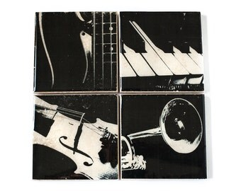 Music Coasters: Musical Instrument Gift (4 Stone Coasters, Black and White Barware) Music Art Home Decor