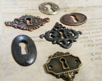Locks Keyhole Connectors Cabochons Key Holes Skeleton Keyhole Steampunk Escutcheon Assorted Pendants Silver Bronze Copper Black-6pcs