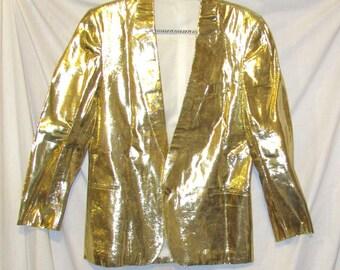 70's Glam Rock Metallic Gold Lame Men's blazer jacket. Merc. Made in England. sz 40 Rare