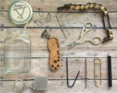 The Knitter's Notion Jar - travel sized mini needle gauge/miniature scissors/stitch marker set