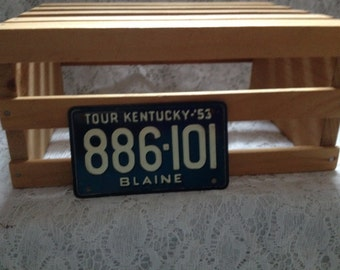 Vintage Mini Metal Kentucky License Plate '53 Navy&white Collectibles Memorabilia All Everything Else