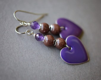 Amethyst Earrings, Gemstone Earrings, Purple Heart Earrings, Surgical Steel Earrings, Purple Earrings, Chocolate Earrings