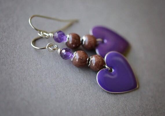 Amethyst Earrings, Gemstone Earrings, Purple Heart Earrings, Surgical Steel Earrings, Purple Earrings, Chocolate Earrings