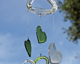 green and clear glass heart valentine's day wind chime mobile from recycled bottles