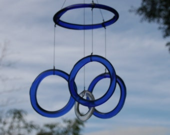 cobalt blue glass wind chime mobile from recycled upcycled bottles