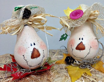 Pair of Scarecrow Hand Painted Light Bulb Fall Decorations