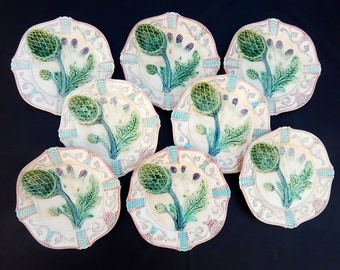 8 French Antique Asparagus Plates in Majolica